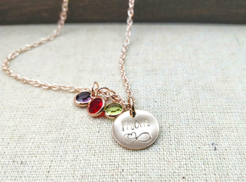 Mother's Love Pendant Birthstone Necklace