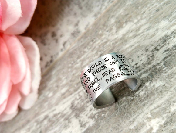 The World is a Book Adjustable Ring