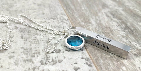 Smart Fierce Brave Strong Inspirational Charm Necklace