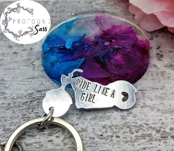 Ride Like a Girl Motorcycle Keychain