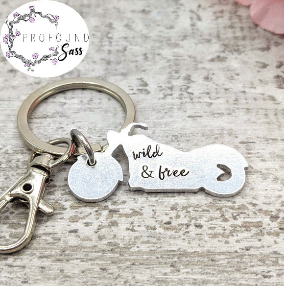 Wild and Free Motorcycle Keychain