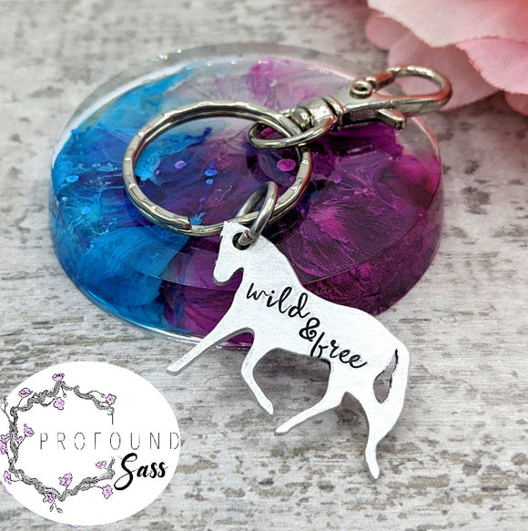 Wild and Free Horse Keychain