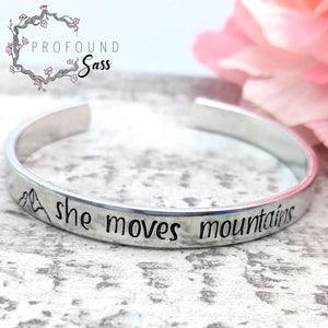 She Moves Mountains Cuff Bracelet