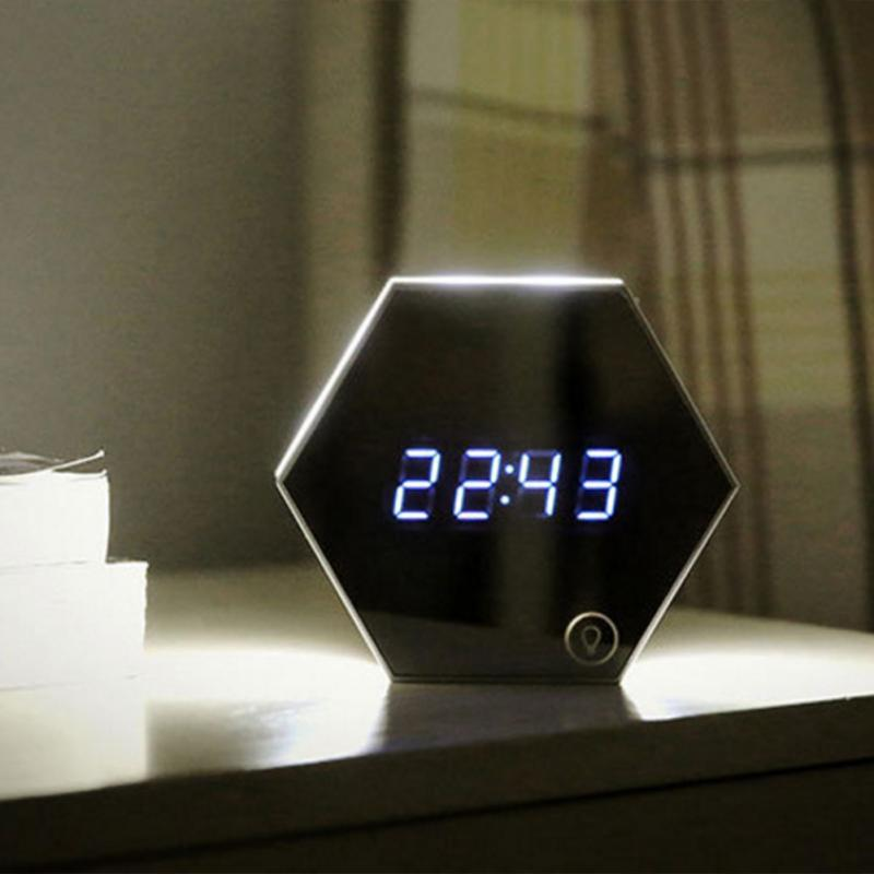 Multi-function Mirror, Digital Alarm Clock with Thermometer LED Night Light Function