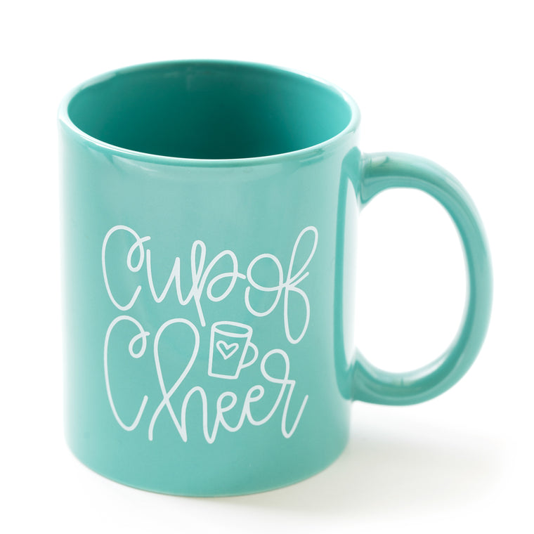 Hand-Lettered Cup of Cheer Mug