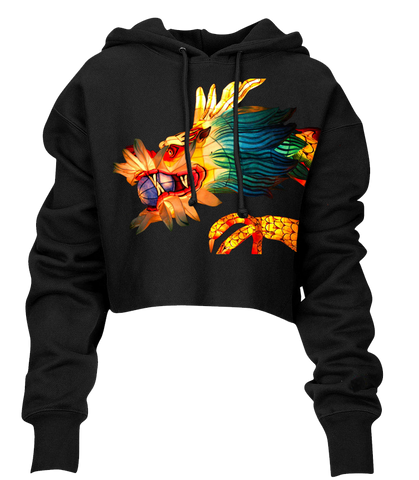 Multi-Color Dragon Crop Hoodie