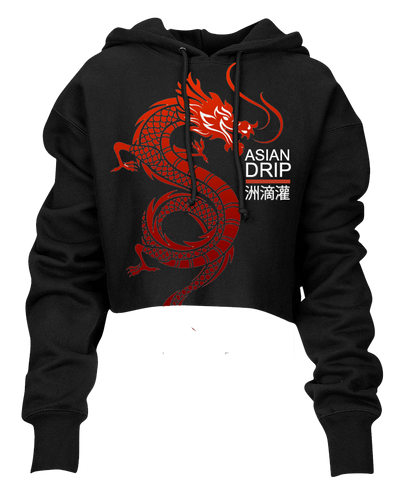 Red Dragon Asian Drip Crop Hoodie