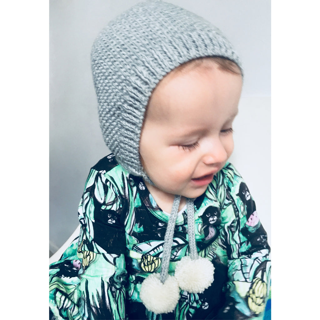 Bonnet with pompom ties by Bobble Handmade