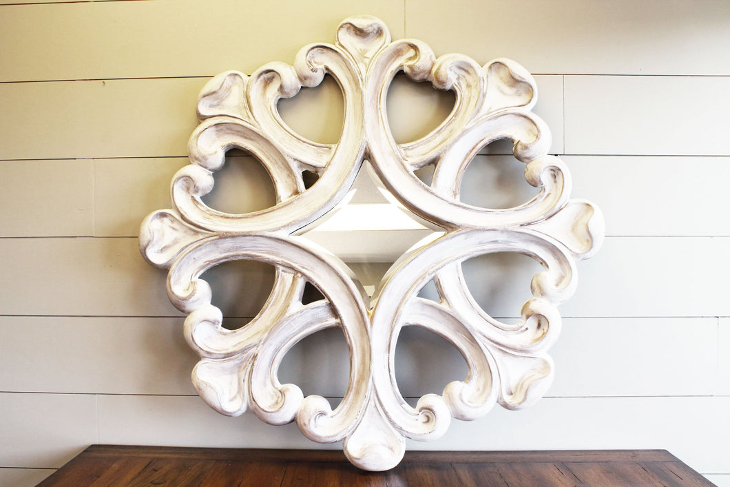 Distressed Ivory Round Mirror