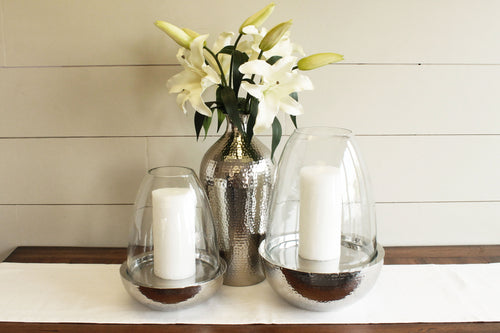 Glass Hurricane Candle Holder & Lily Set