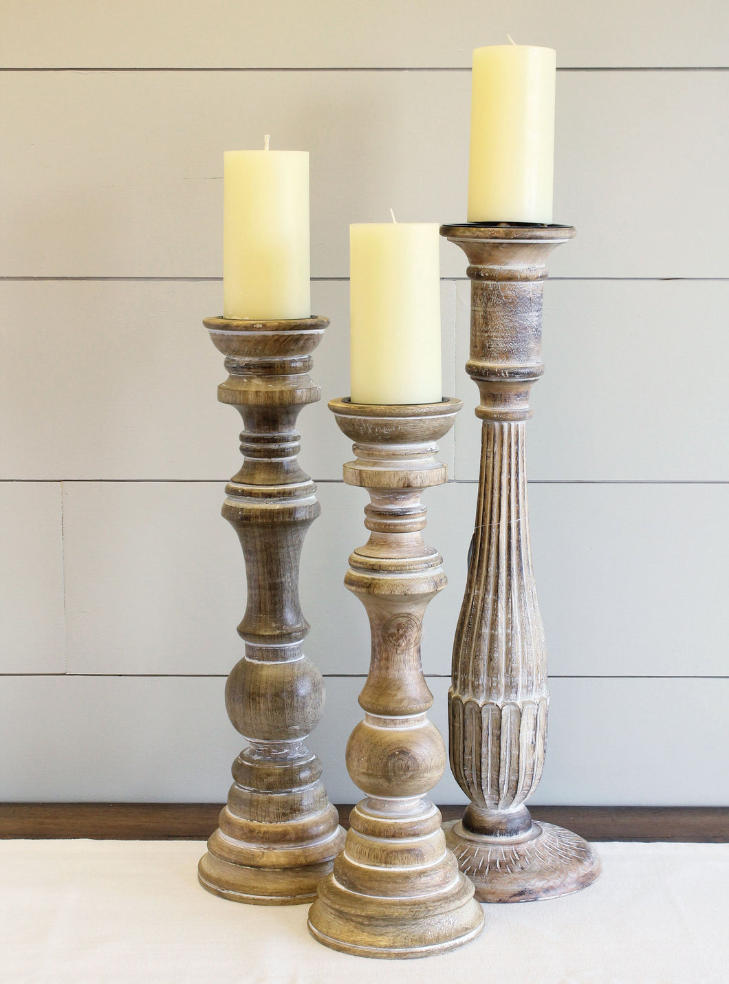 Set of 3 Wood Candle Holders