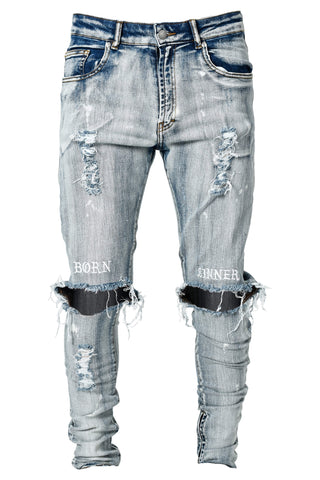 Born Sinner Distressed Denim - Light Stone