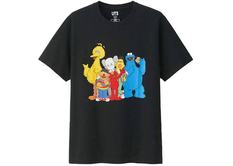 Kaws x Uniqlo x Sesame Street Group Tee Black