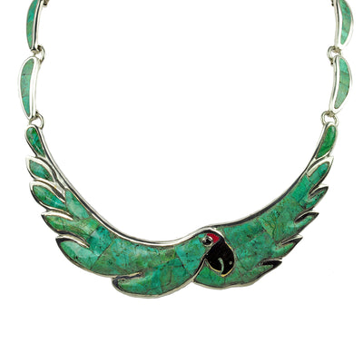 Turquoise Inlaid Parrot Necklace by Manuel Porcayo