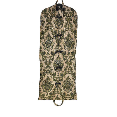 Authentic Garment Bag with Tie Closure - Tapestry Chenille Beautiful Beige & Green (Front View) Perfect for a Bride's Gift!