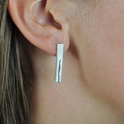 Lineage Single Line Bar Earrings on Model