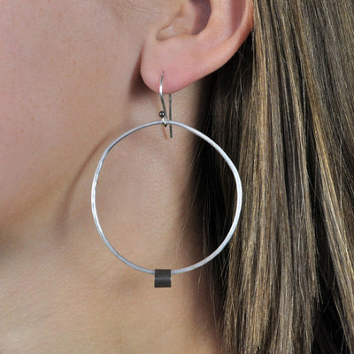 Black Linx Large Hoop Earrings (Close Up)