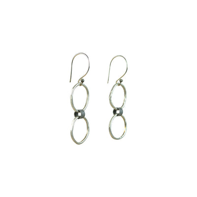 Black Linx Small Double Hoop Earrings (Side View)