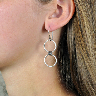 Black Linx Small Double Hoop Earrings (On Model)