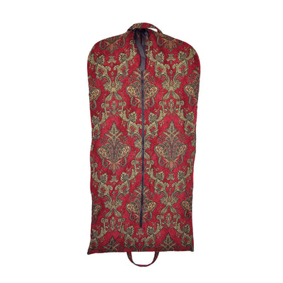 Garment Bag - Beautiful Red & Gold Tapestry Chenille (Front View) Perfect for a Bride's Gift!