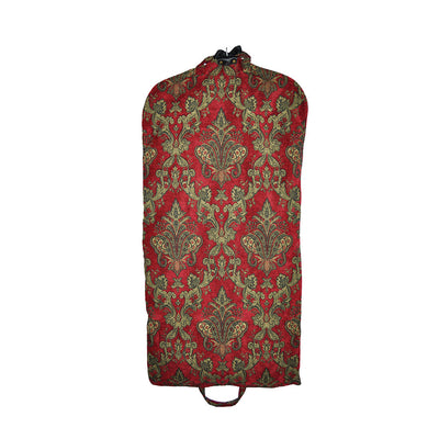 Garment Bag - Beautiful Tapestry Chenille Red & Gold (Back View) Perfect for a Bride's Gift!