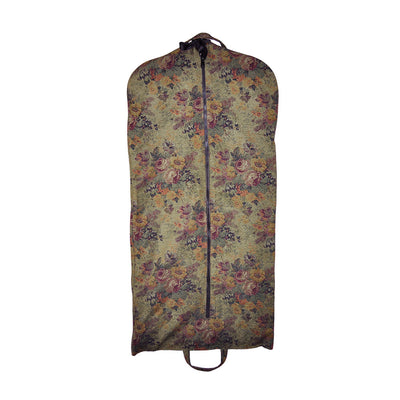 Modern Garment Bag - Olive Green with Vintage Flowers (Front View)