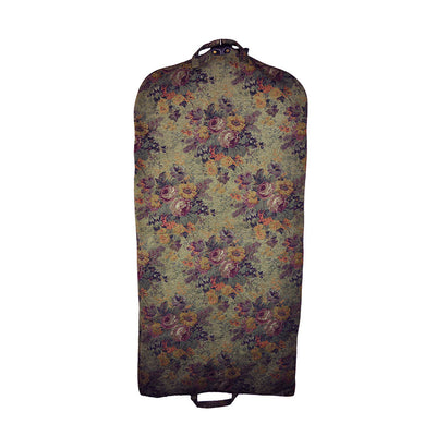 Modern Garment Bag - Olive Green with Vintage Flowers (Back View) Perfect for a Bride's Gift!