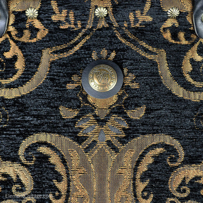 Large Victorian Traveler Carpetbag - Black Knight (Close up)