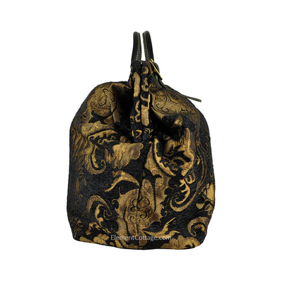 Large Victorian Traveler Carpetbag - Black Knight (Side View)