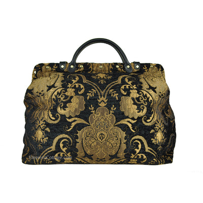 Large Victorian Traveler Carpetbag - Black Knight (Back View)