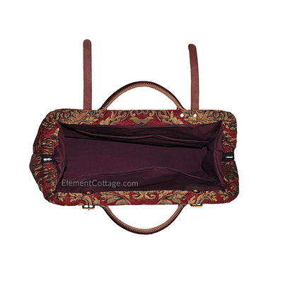 Large Victorian Traveler Carpet Bag - Red Queen Elizabeth