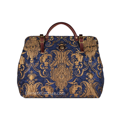 Large Victorian Traveler Carpetbag - Blue Danube