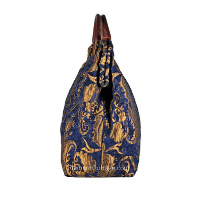 Large Victorian Traveler Carpetbag - Blue Danube (Side View)