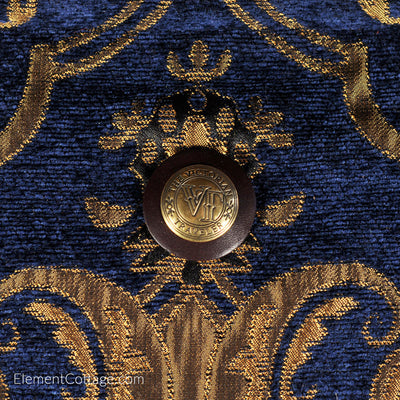 Large Victorian Traveler Carpetbag - Blue Danube (Close up)
