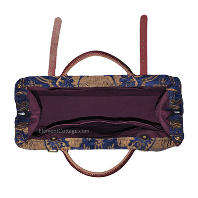 Large Victorian Traveler Carpetbag - Blue Danube (Inside View)