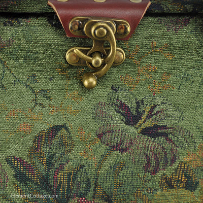 Modern Satchel - Olive Green with Vintage Flowers (Close up)