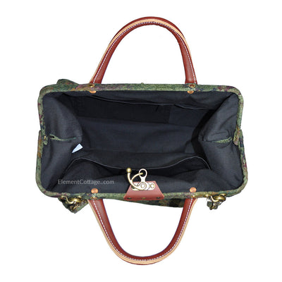 Modern Satchel - Olive Green with Vintage Flowers (Inside View)