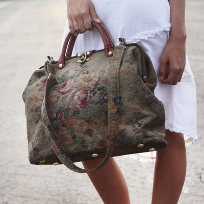 Modern Satchel - Olive Green with Vintage Flowers on Model