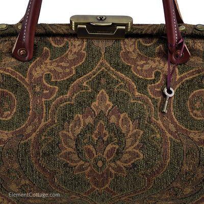 Doctor's Bag - Olive Green with Rose and Gold (Close up)