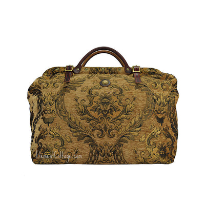 Large Victorian Traveler Carpetbag - Dark Gold