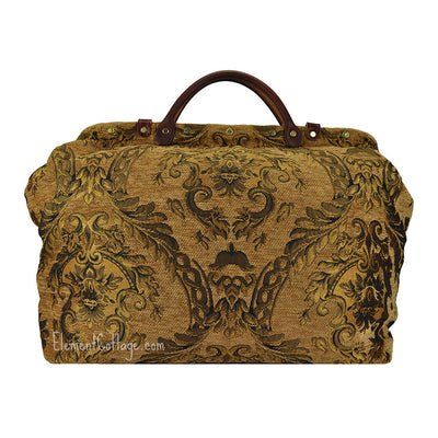 Large Victorian Traveler Carpetbag - Dark Gold (Back View)