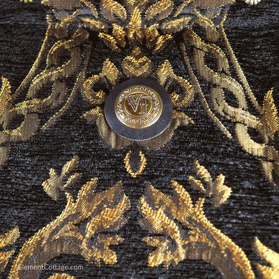 Large Victorian Traveler Carpetbag - Black Queen Elizabeth (Close up)