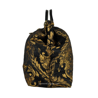 Large Victorian Traveler Carpetbag - Black Queen Elizabeth (Side View)