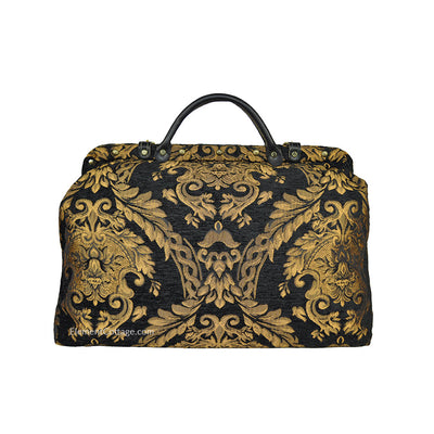 Large Victorian Traveler Carpetbag - Black Queen Elizabeth (Back View)