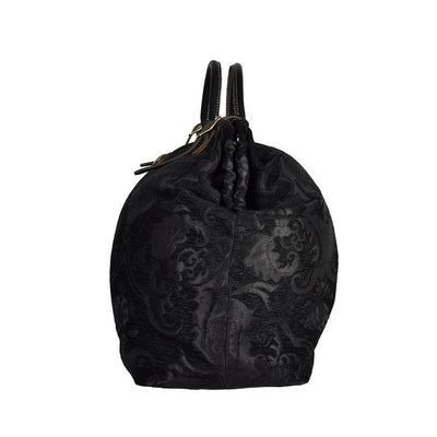 Large Black Victorian Traveler Carpet Bag - Bonnie Prince (Side View)