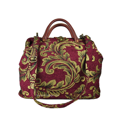 Modern Satchel - Cranberry with Leaves