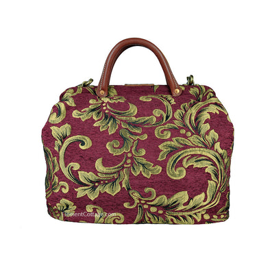 Modern Satchel - Cranberry with Leaves (Back View)