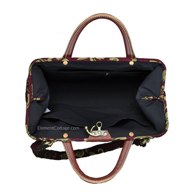 Modern Satchel - Cranberry with Leaves (Inside View)