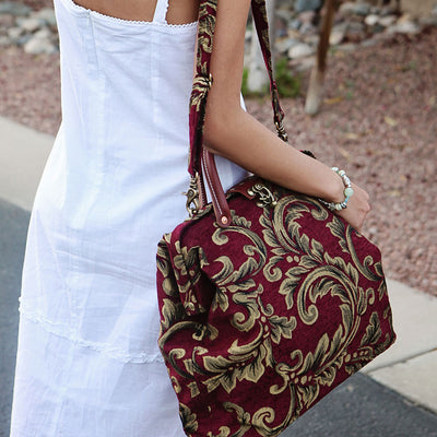 Modern Satchel - Cranberry with Leaves on Model