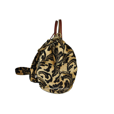 Doctor's Bag - Gold  with Black Leaves (Side View)